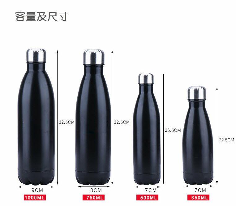 潮牌風格304不銹鋼內膽保溫瓶 中號500ml 金屬色 可樂瓶 保溫杯 保齡球造型杯 運動水壺 3
