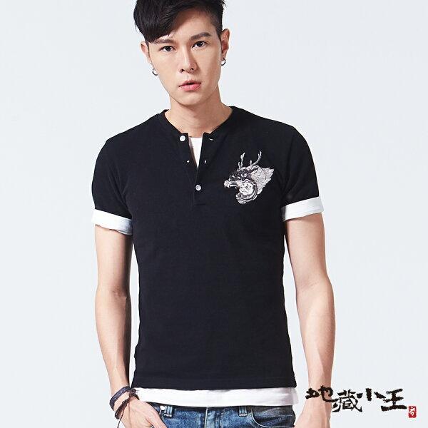 【限時5折】獅子舞棒球領短袖POLO衫(黑)-BLUEWAYJIZO地藏小王