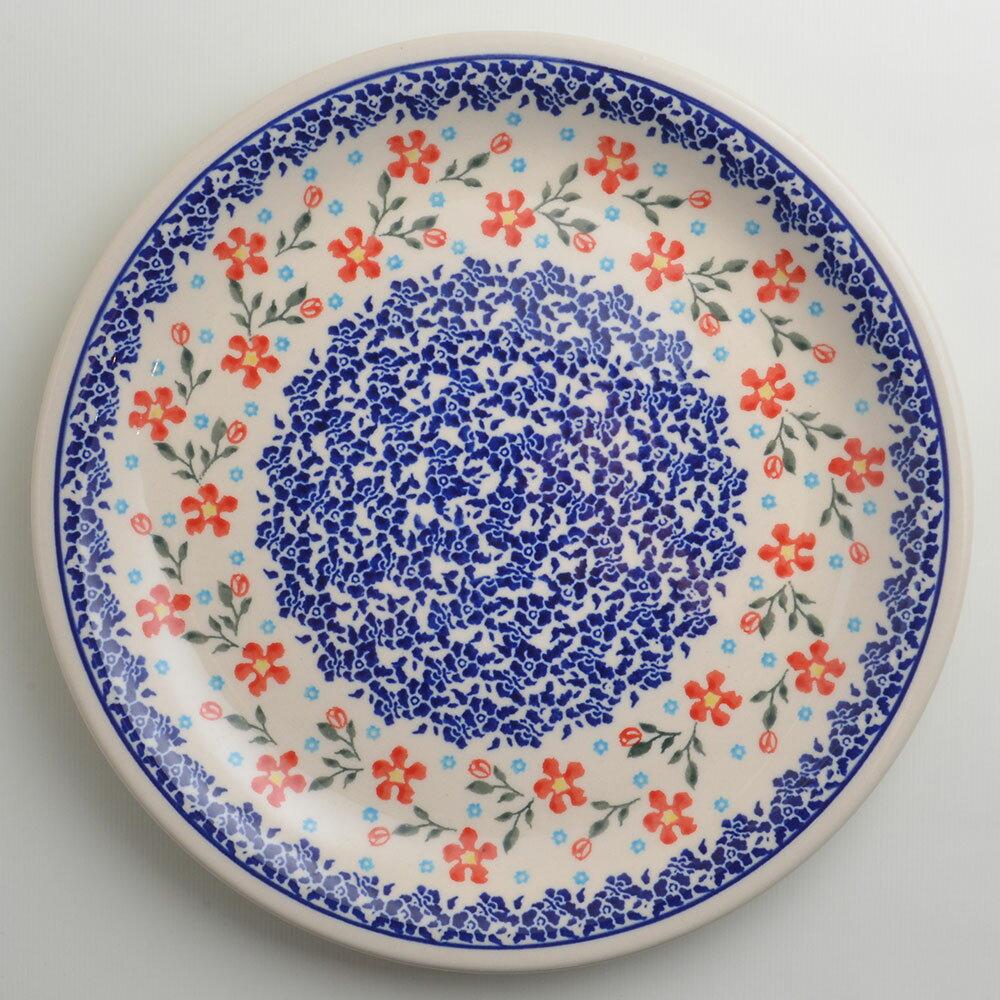 波蘭陶 藍印紅花系列 圓形餐盤 陶瓷盤 菜盤 點心盤 圓盤 沙拉盤 27cm 波蘭手工製 1