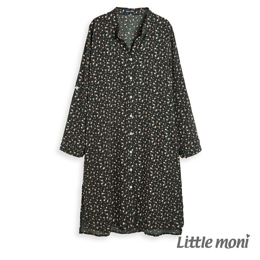 Little moni 印花長版襯衫-深綠(好窩生活節) - 限時優惠好康折扣