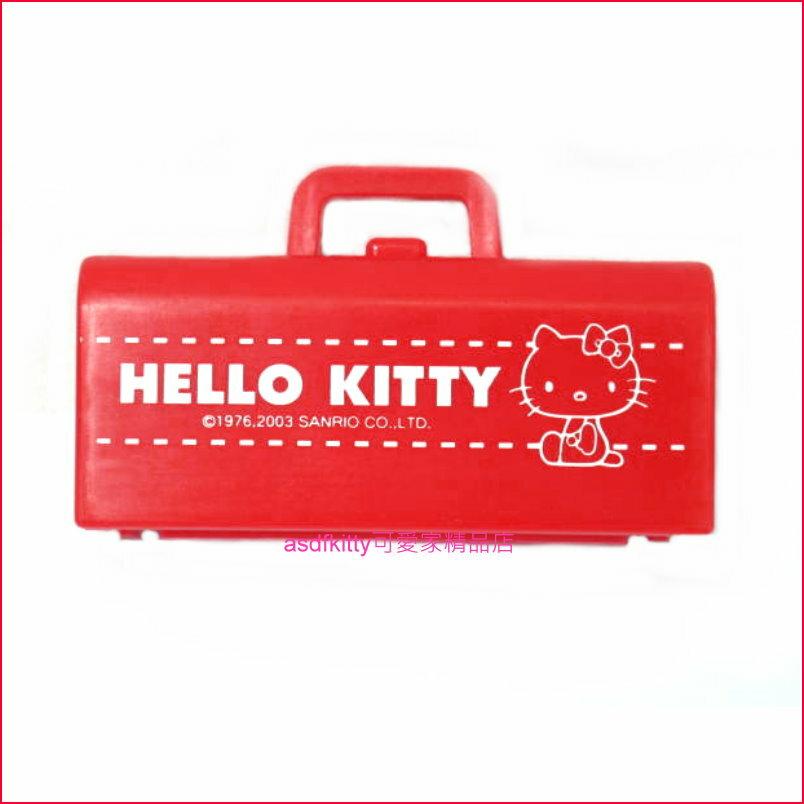 asdfkitty可愛家☆KITTY提包版小型收納盒/置物盒/禮物盒-可裝耳環.戒指.項鍊...等小東西-2003年絕版