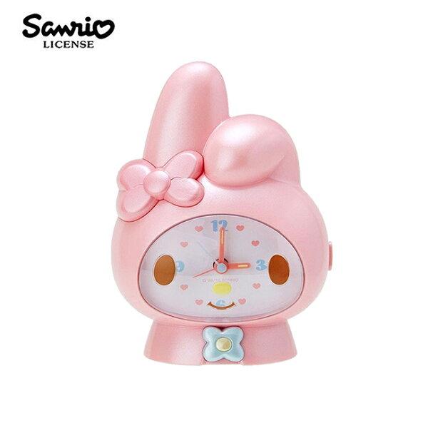 【日本正版】美樂蒂大頭造型說話鬧鐘鬧鐘時鐘夜燈設計MyMelody三麗鷗Sanrio-492420