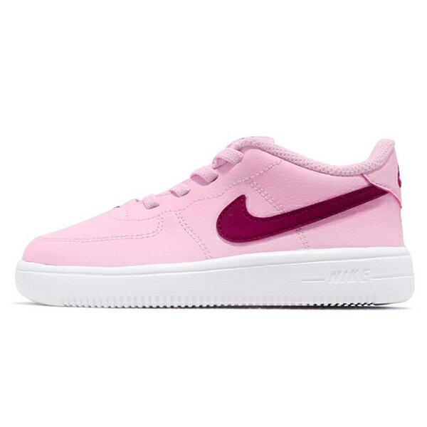 Shoestw【905220-605】NIKE FORCE 1 '18 (TD) 休閒鞋 皮革 鬆緊帶 免綁鞋帶 粉紅紫勾 小童鞋 1