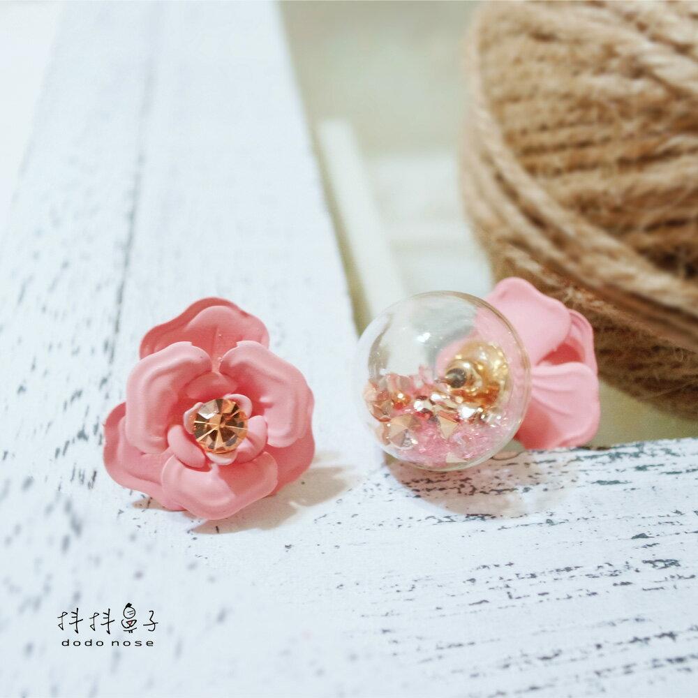 亮鑽玻璃球花朵耳環(3色) 1