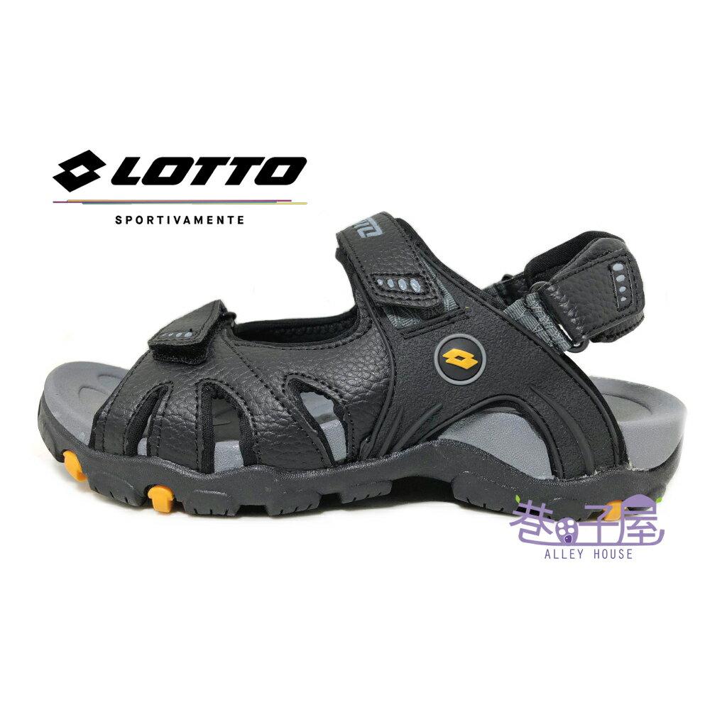 【巷子屋】義大利第一品牌-LOTTO樂得 男款Q彈兩穿式探險家戶外涼拖鞋 涼鞋 拖鞋 [5200] 黑 超值價$398