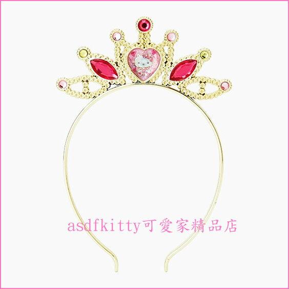 asdfkitty可愛家☆KITTY皇冠金色兒童髮箍/髮圈-舞會.生日.PARTY造型變裝好用-日本正版商品