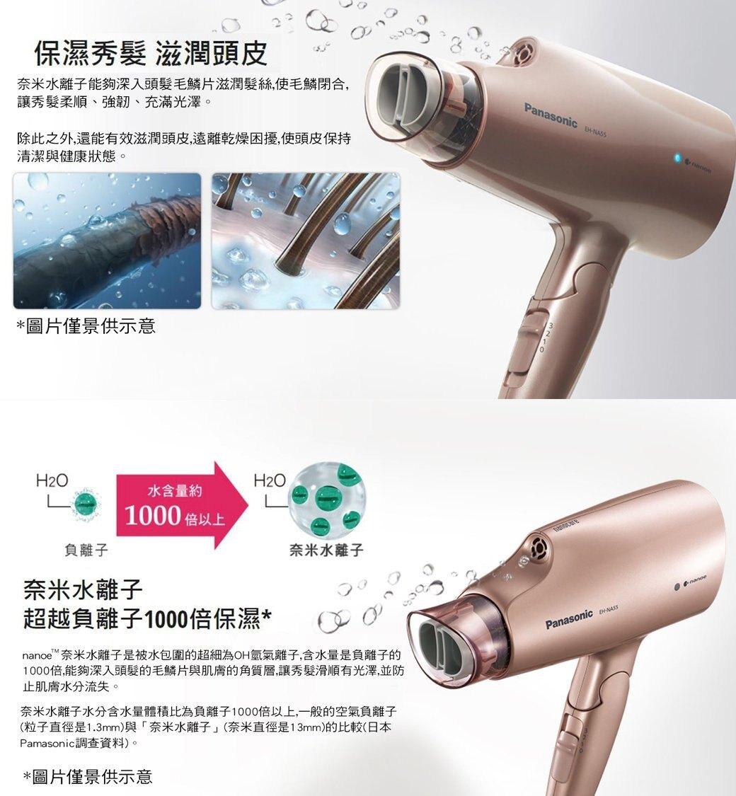 Panasonic 國際牌 奈米水離子 吹風機 EH-NA55