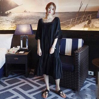 PS Mall甜美可愛花邊短袖連身裙 寬鬆連身洋裝【T582】