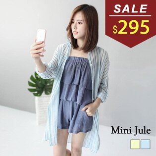 襯衫 直條紋透膚反摺袖長版襯衫外套 小豬兒 MiNi Jule 【SUI71000541】