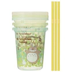 【真愛日本】16071100015日本製三入吸管杯附蓋-龍貓綠葉森林    龍貓 TOTORO 豆豆龍 吸管杯 餐具