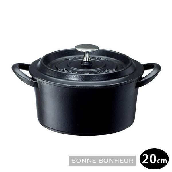 日本進口BONNE BONHEUR琺瑯鑄鐵鍋20cm紅/黑 1