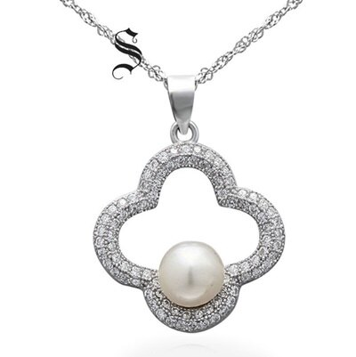 925純銀項鍊 珍珠吊墜~簡約花朵鑲鑽優雅七夕情人節 女飾品73dh28~ ~~米蘭 ~