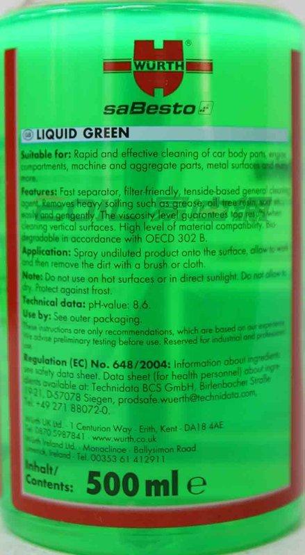 WURTH LIQUID GREEN 福士 綠液清潔劑 0893 474 1