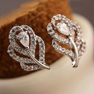 ~925純銀耳環鑲鑽耳飾~ 知性典雅羽毛情人節生日 女飾品73du8~ ~~米蘭 ~