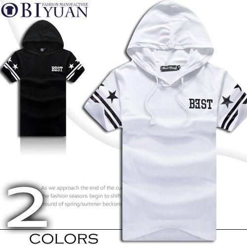 短袖帽T【JG5066】OBI YUAN韓版BEST 28星星英文反向字母連帽短袖上衣共2色