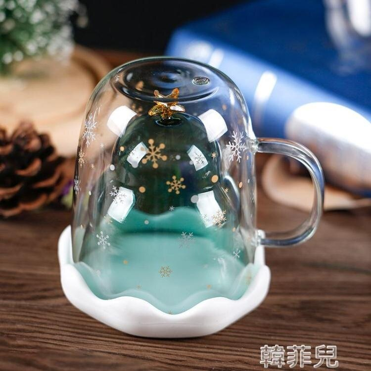 貓爪杯 心愿造景雙層圣誕玻璃杯星愿家用奶茶杯泡茶小孩潮流冰雪貓爪賀卡