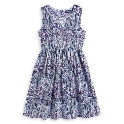 Little moni 度假風情無袖印花洋裝 - 深藍