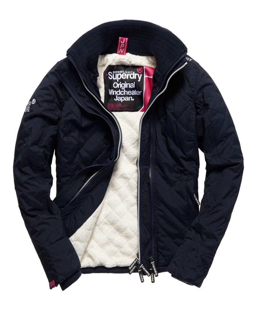 [女款] Outlet英國 極度乾燥 Superdry Hooded Sherpa 加厚保暖菱格紋絎縫羊羔絨防風衣 女款 海軍藍 0