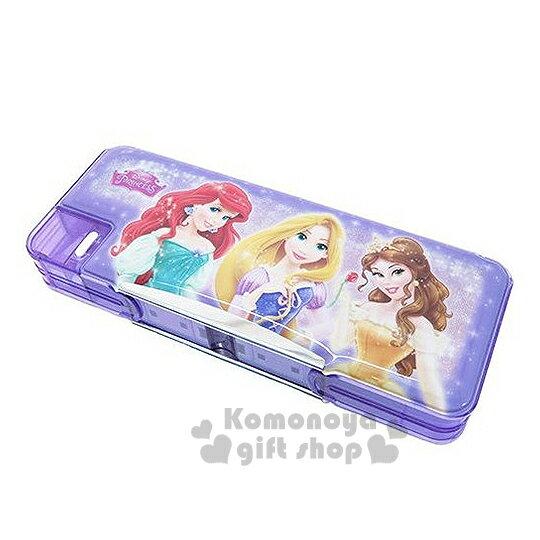 〔小禮堂〕迪士尼 公主 多功能筆盒《紫.多角色.閃亮亮》雙開式