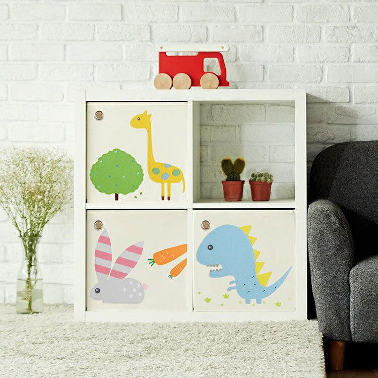 (1800折200) 美國【KAIKAI & ASH】寶寶動物系列收納箱- 吼吼暴龍  摺疊收納箱 玩具收納箱  /  整理箱  /  設計風  /  棉麻  /  不織布 1
