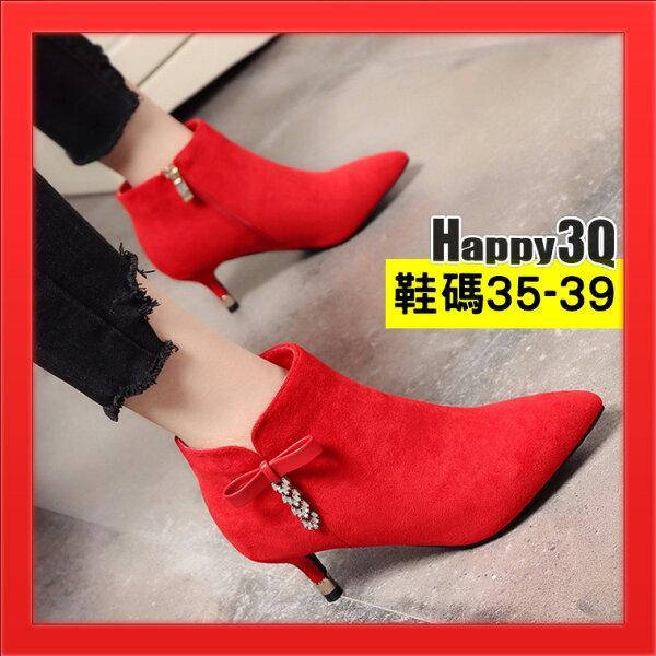 Happy Happy:水鑽靴尖頭短靴中跟靴磨砂絨面歐美秋冬女鞋短靴百搭及腳踝靴馬丁靴-黑紅34-39【AAA3425】