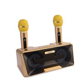 SD-301麥克風+音箱喇叭 家庭式KTV對唱/導遊/講師 無線麥克風 重低音 開趴必備