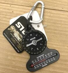 SILVA Pocket compass 溫度計隨身指北針鑰匙圈 瑞典森林指北針 附掛勾 S37617