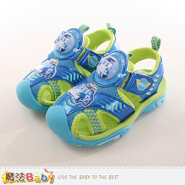 男童鞋 POLI波力正版護趾閃燈運動涼鞋 魔法Baby~sa71116