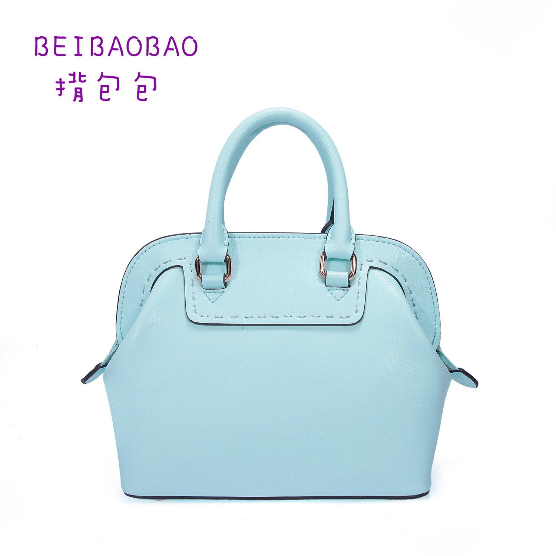 【BEIBAOBAO】繽紛馬卡龍真皮手提側背包(粉霧藍 共六色) 0