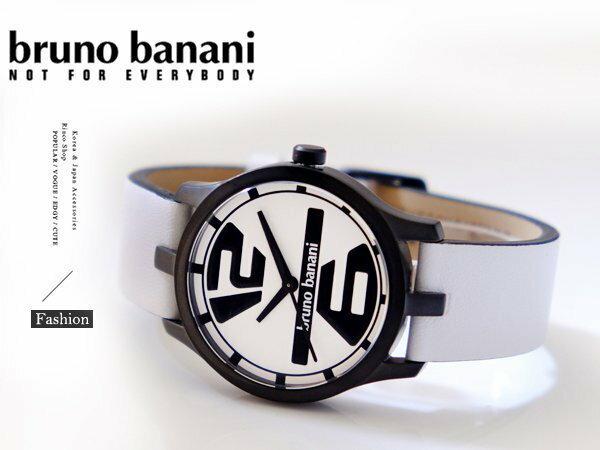完全計時手錶館:【完全計時】手錶館│德國時尚原裝brunobanani簡單面盤錶帶質感白飾品BR21037大錶徑運動方型