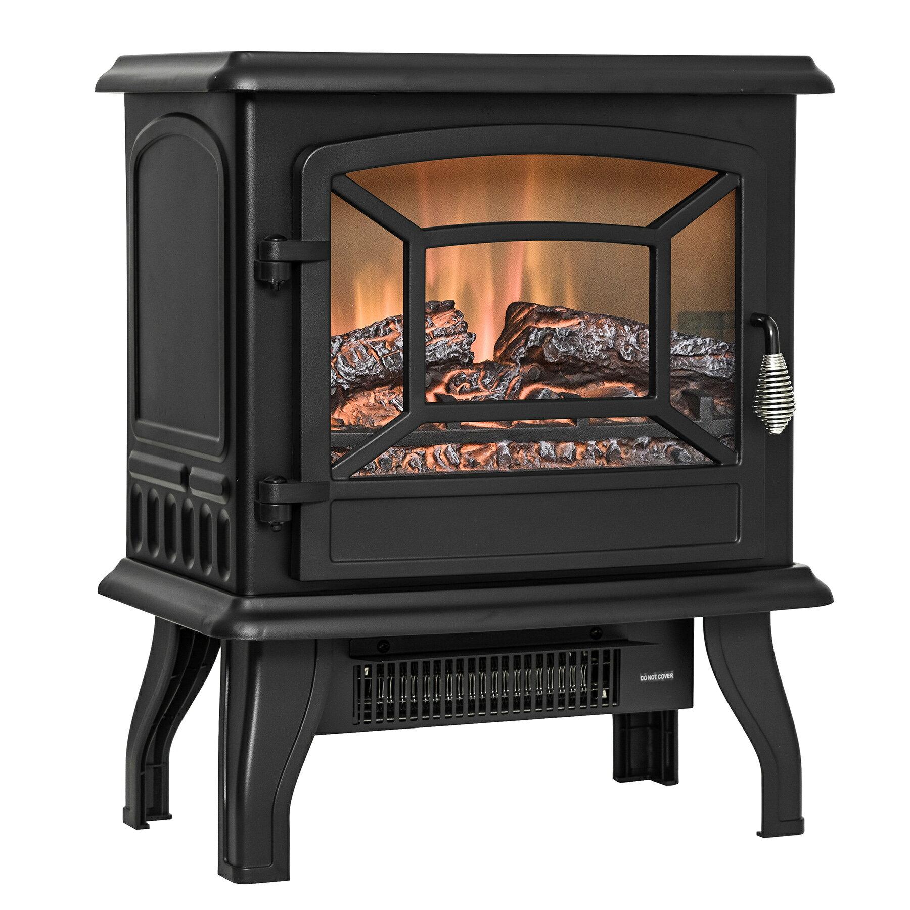 "AKDY 17"" Black Finish Freestanding Portable Electric Fireplace Heater 2 Setting Level 4"