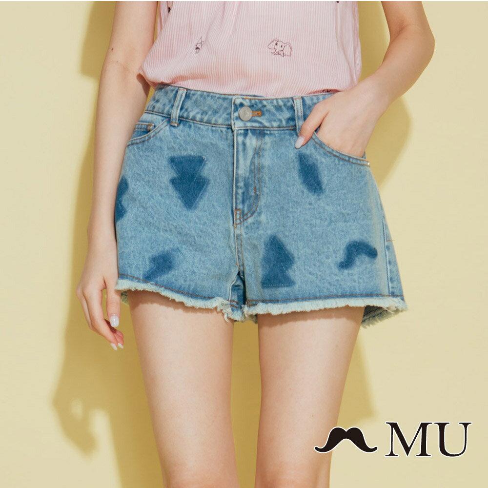 【MU】符號刷色抽鬚牛仔丹寧短褲(2色)8325161 0