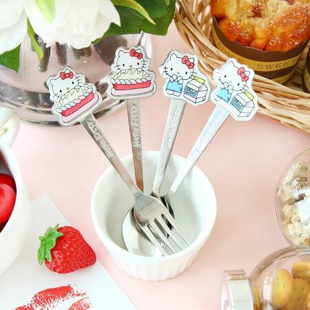 正版 Hello Kitty 不鏽鋼造型餐具 餐具 叉子 湯匙 卡通餐具 造型餐具 勺子【N102704】