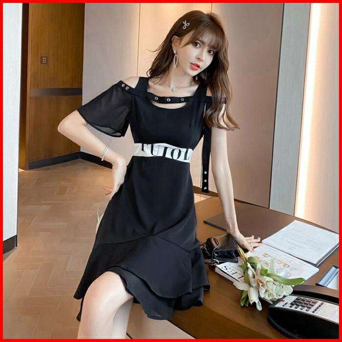 韓系春夏短袖洋裝婚禮宴會派對連身裙黑色短款雪紡連衣裙 依米迦