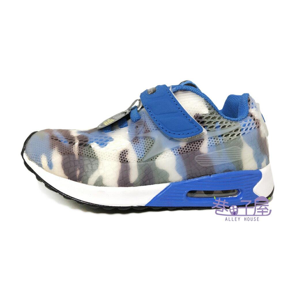 【巷子屋】KOYO 童款迷彩彈性膠透氣大氣墊運動慢跑鞋 [55906] 藍 超值價$398