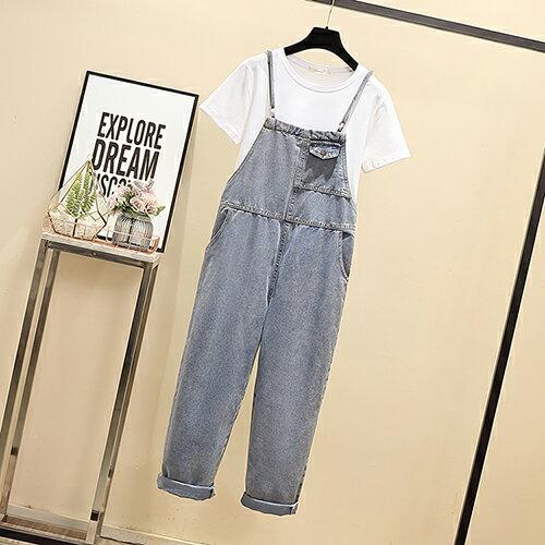牛仔背帶褲兩件套裝(2色L~4XL)【OREAD】 0