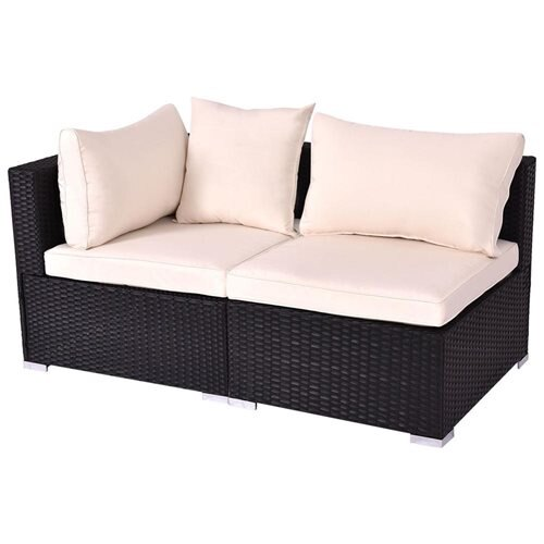 Costway Black Outdoor Patio Rattan Furniture Set Infinitely Combination  Cushion Wicker 1