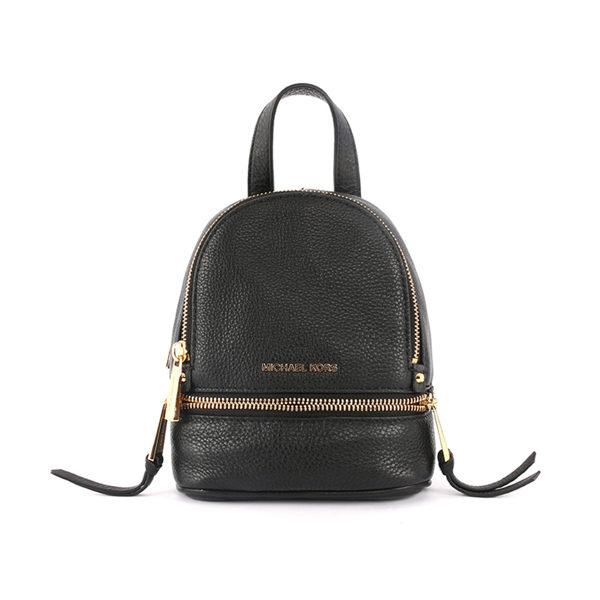 【MICHAEL KORS】黑色牛皮金色拉鍊後背包(mini) 30T6GEZB1L/001