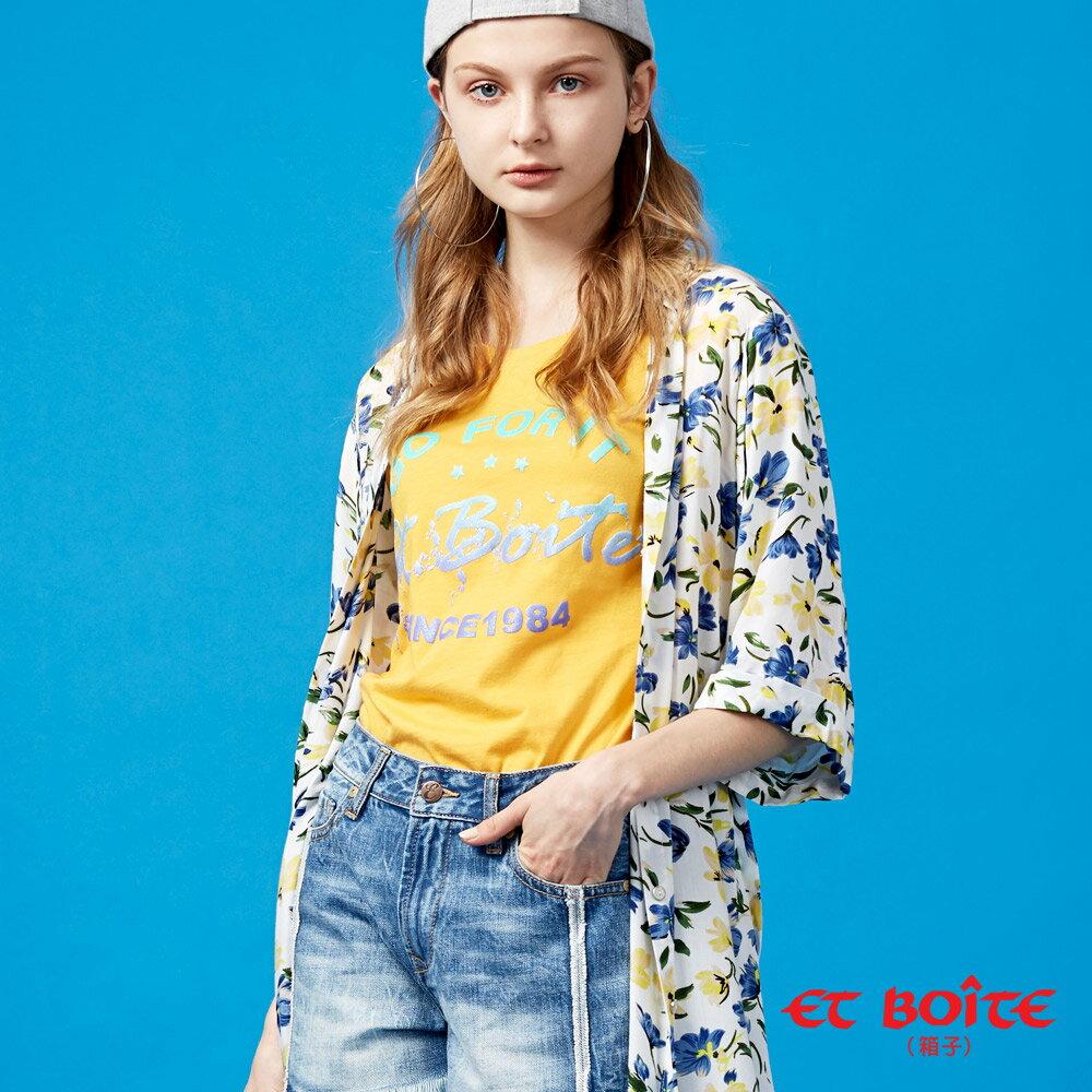 【春夏新品】寬袖開衩收腰長版罩衫(米白花卉) - BLUE WAY  ET BOiTE 箱子 3