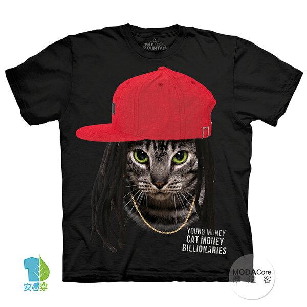 【摩達客】(預購)美國進口TheMountain嘻哈饒舌貓純棉環保藝術中性短袖T恤