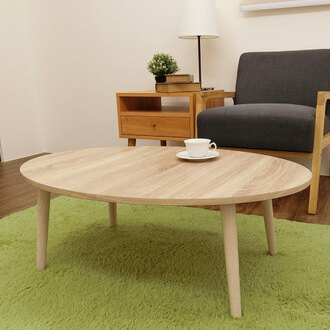 矮桌 日系簡約高質感木紋橢圓大茶几/和式桌 【DAA021】Amos