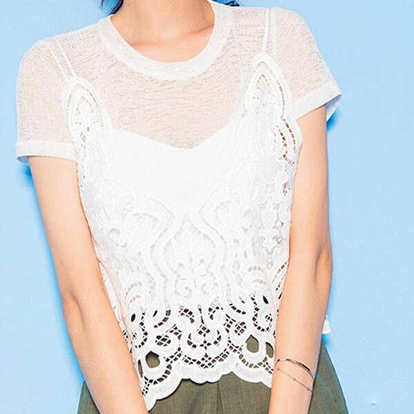 PS Mall 性感透視短袖T恤 鏤空蕾絲鉤花吊帶背心兩件套 ~T1708~ ~  好康折