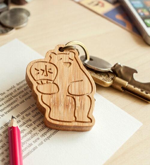 幸福森林.竹製可愛動物鑰匙圈 客製化 北極熊媽媽