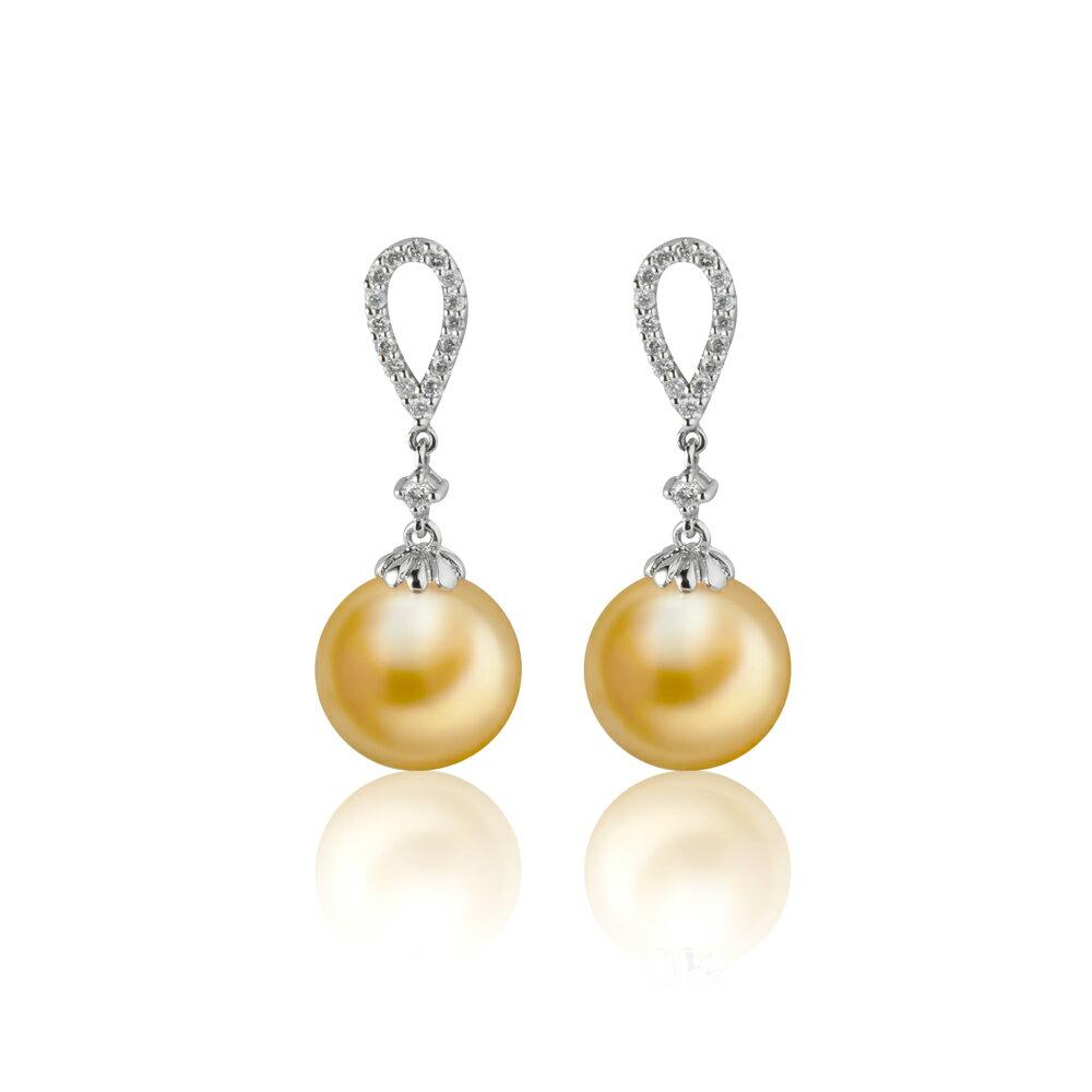 大東山珠寶 繽紛花園 南洋金珠頂級真鑽18K白金耳環 1