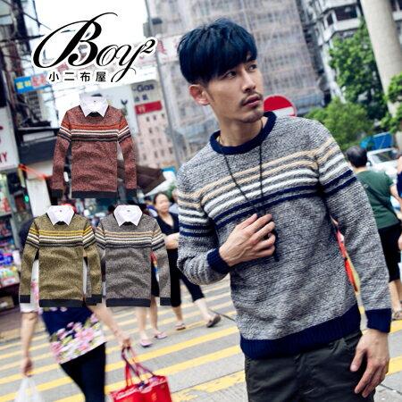 ☆BOY-2☆【PPK86037】英倫學院風條文拼接針織毛衣 0