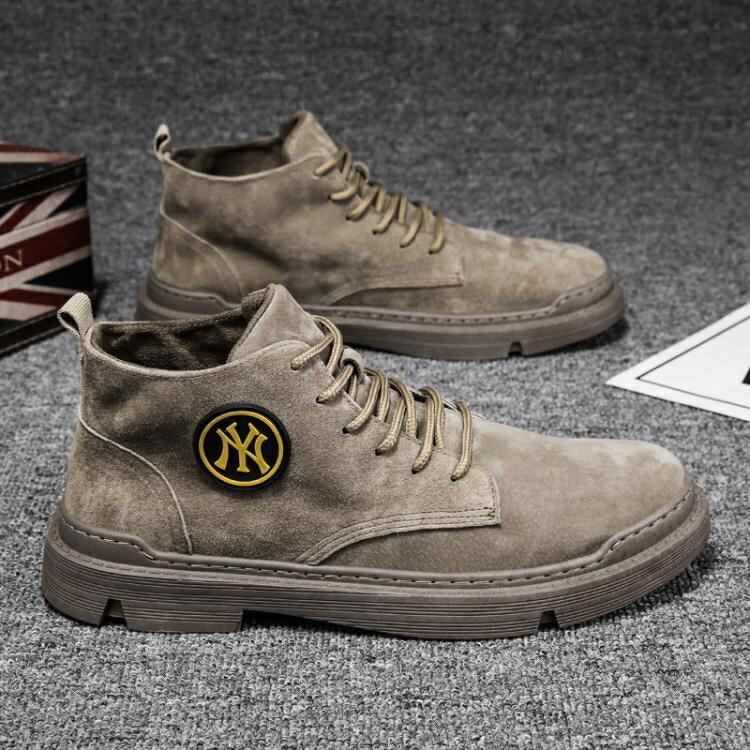 馬丁靴男高筒英倫風短靴工裝靴百搭男士靴子冬季中筒男靴秋季男鞋