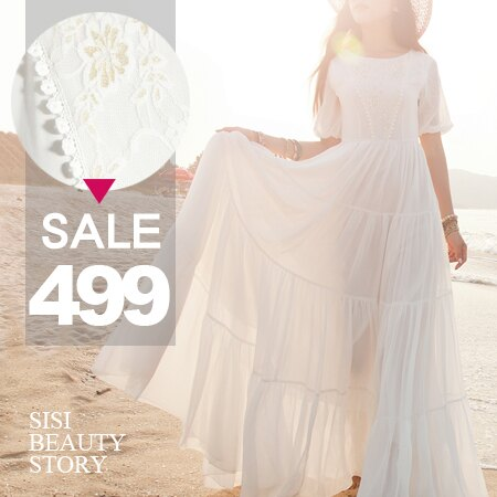 SISI【D6031】超美Der波西米亞女神燈籠袖蕾絲雕花蛋糕裙雪紡連身長裙洋裝