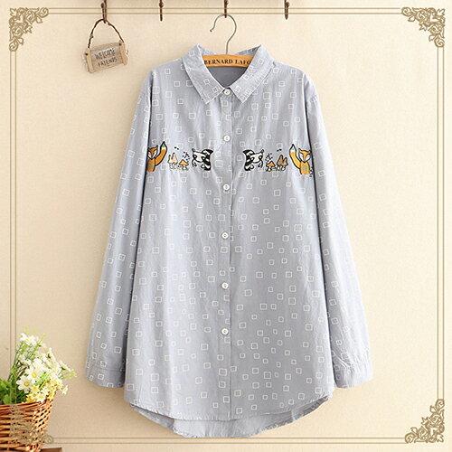 日系森女翻領方塊蘑菇長袖襯衫(3色F碼)【OREAD】 0
