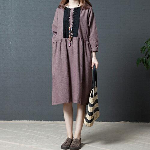 韓版時尚格子棉麻圓領連身裙(2色M~2XL) 【OREAD】 1