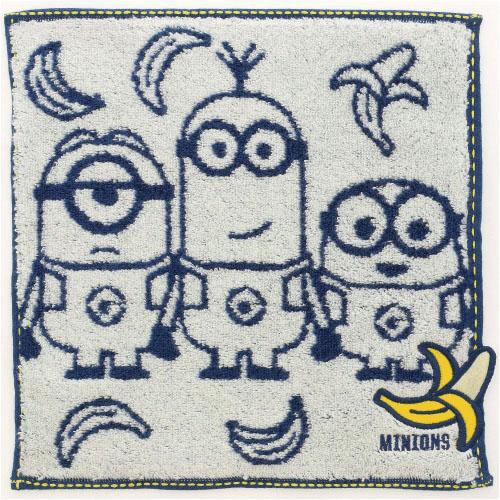 小小兵 小 毛巾 方巾 手帕 深藍 兒童 MINIONS 香蕉 日貨 正版 授權 J00030128